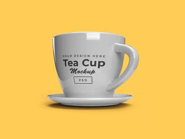 Filiżanka herbaty na talerzu 3d makieta projektu