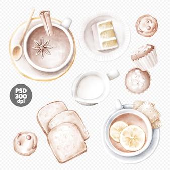 Filiżanka kawy i filiżanka herbaty z ręcznie rysowane ciasta i ciasteczka clipart