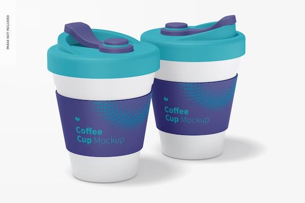 Filiżanki do kawy z makietą pokrywki