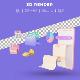 Finanse i seo lub dane płatności dla renderowania 3d witryny docelowej na białym tle