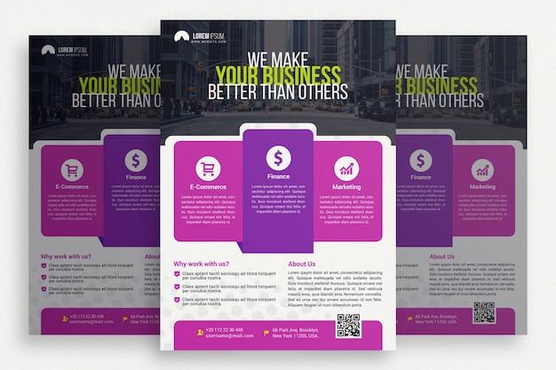 Fioletowa i biała broszura biznesowa