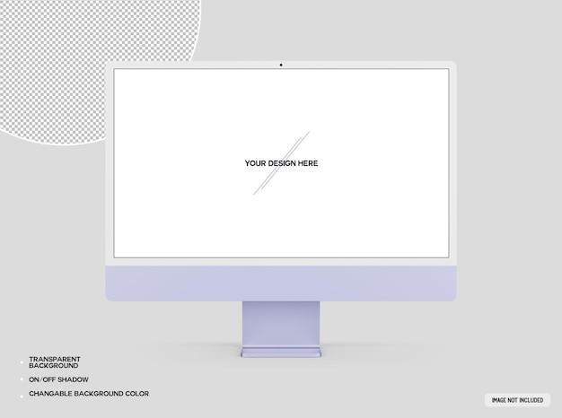 Fioletowa makieta komputera stacjonarnego
