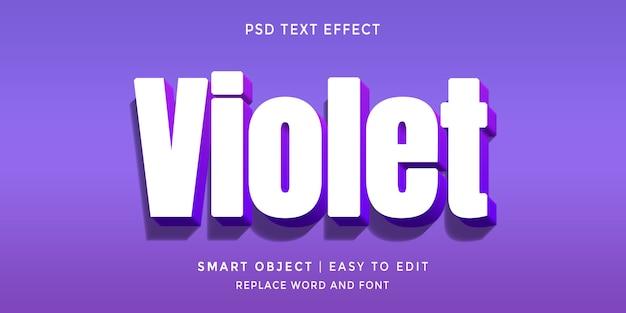 Fioletowy edytowalny efekt tekstowy w stylu 3d