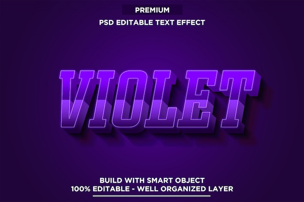 Fioletowy efekt czcionki w stylu czcionki 3d