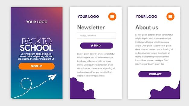 Fioletowy gradient szablon aplikacji z powrotem do szkoły