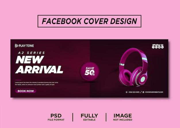 Fioletowy kolor słuchawek marka okładki na facebooka
