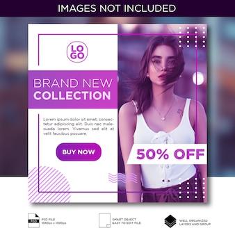 Fioletowy moda social media instagram szablon transparent post