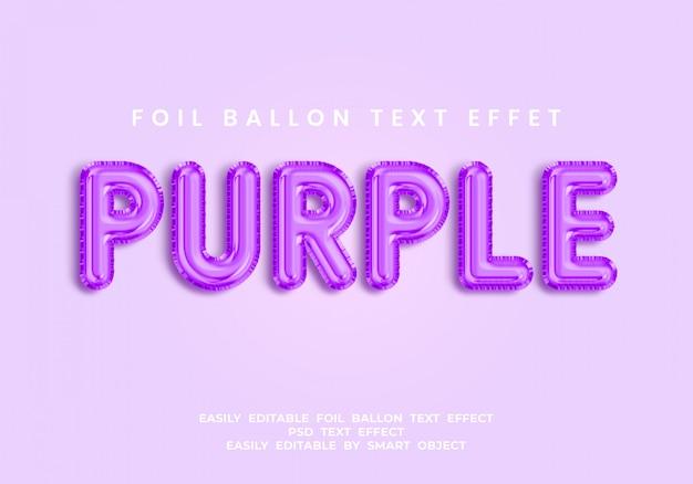 Fioletowy tekst w stylu balonu 3d