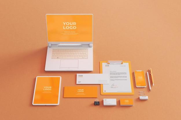 Firma makieta papeterii biznes z laptopem, tabletem, telefonem