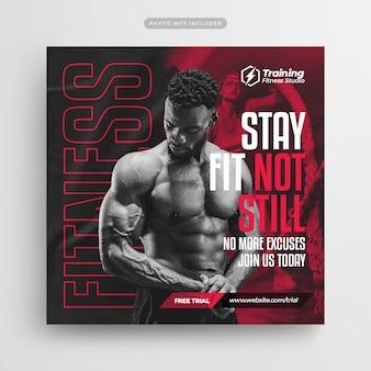 Fitness gym flyer social media post i szablon banera internetowego