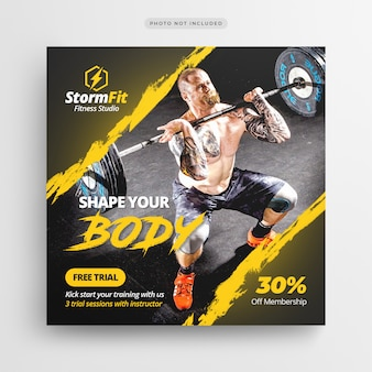 Fitness gym social media post lub szablon flyer square