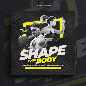 Fitness gym ulotka social media post baner internetowy