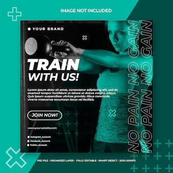 Fitness i siłownia social media lub kwadratowy szablon transparent