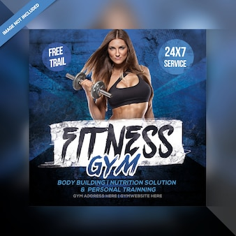Fitness siłownia instagram post lub banner