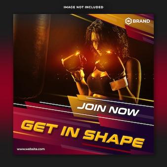Fitness siłownia instagram post szablon banner społecznościowy premium psd