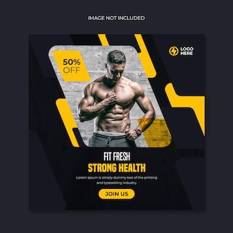 Fitness siłownia social media i baner internetowy lub szablon postu promocyjnego na instagram