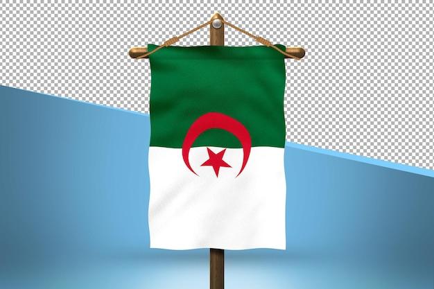 Flaga algierii powiesić w tle
