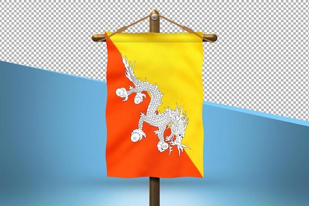Flaga bhutanu powiesić w tle