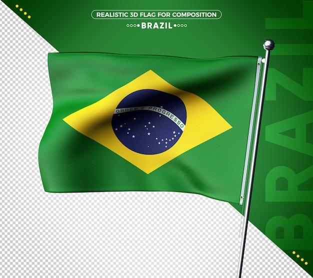 Flaga brazylii 3d z realistyczną teksturą
