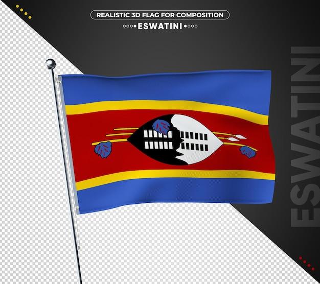 Flaga eswatini z realistyczną teksturą