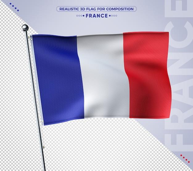 Flaga francji 3d z realistyczną teksturą