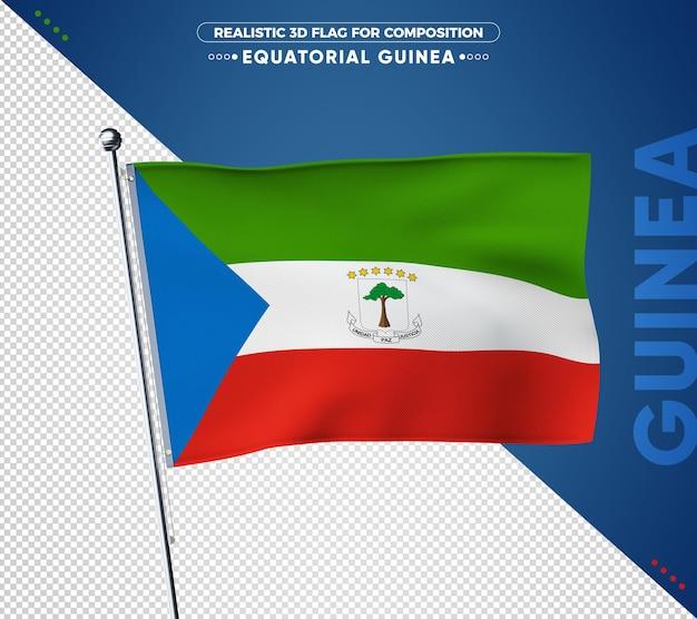 Flaga gwinei równikowej z realistyczną teksturą
