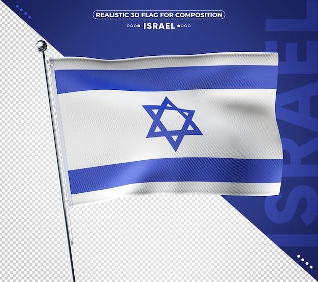 Flaga izraela 3d z realistyczną teksturą