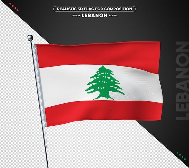 Flaga libanu z realistyczną teksturą