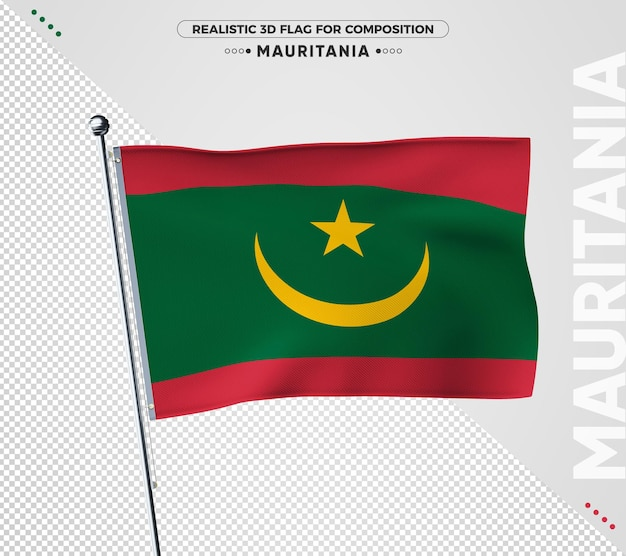 Flaga mauretanii z realistyczną teksturą na białym tle