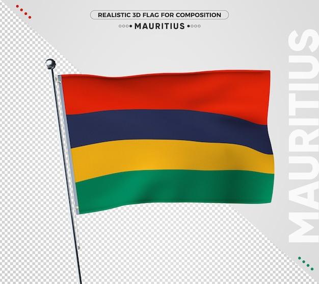 Flaga mauritiusa z realistyczną teksturą na białym tle