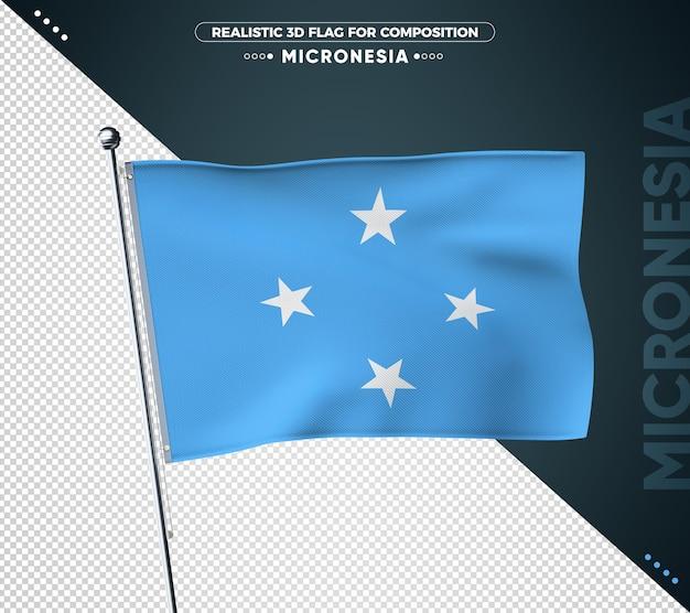 Flaga mikronezji z realistyczną teksturą na białym tle