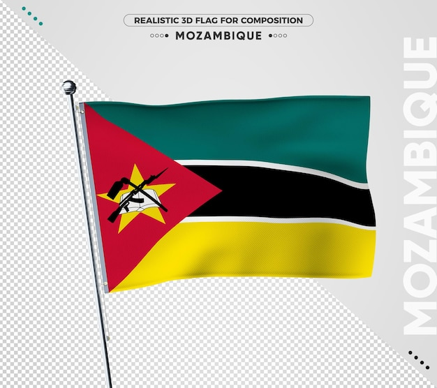 Flaga mozambiku z realistyczną teksturą
