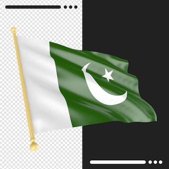Flaga pakistanu renderowania 3d na białym tle