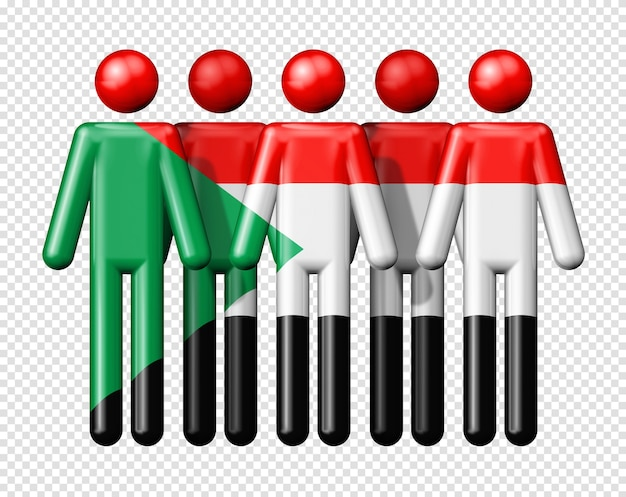 Flaga sudanu na ikonie 3d symbol społeczności narodowej i społecznej stick figure