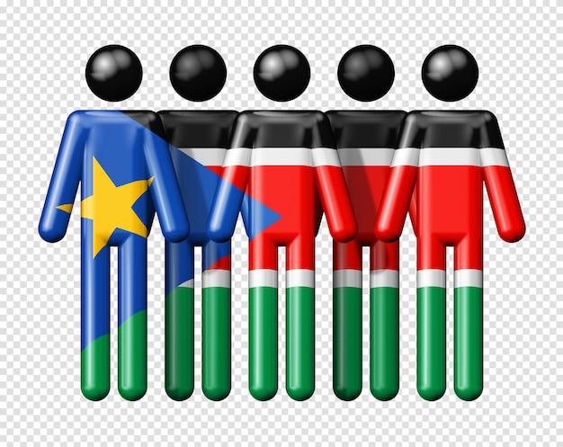 Flaga sudanu południowego na ikonie 3d symbol społeczności narodowej i społecznej stick figure