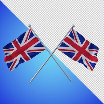 Flaga wielkiej brytanii 3d renderowania na białym tle