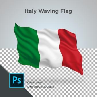 Flaga włoch fala przezroczysty psd