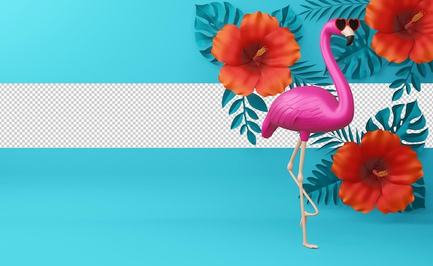 Flaming w okularach i kwiatach hibiskusa z liśćmi, sezon letni, letni szablon renderowania 3d