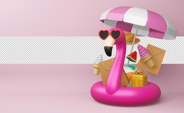 Flaming w okularach ze sprzętem plażowym, sezon letni, letni szablon renderowania 3d