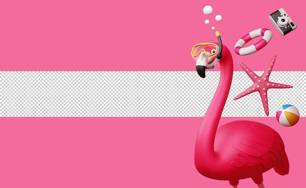 Flamingo w masce do nurkowania z rozgwiazdą, kółkiem do pływania i aparatem, sezon letni, letnie renderowanie 3d