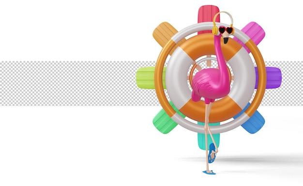 Flamingo waring słuchawki z pierścieniem do pływania i lodami, renderowanie 3d w sezonie letnim