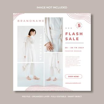 Flash sprzedaż mediów społecznościowych lub szablon transparentu kwadratowego