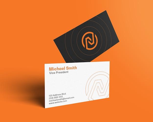 Float business card mockup side tilt view