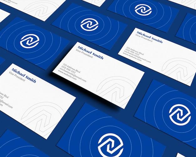 Float business card pattern makieta widok pochylenia