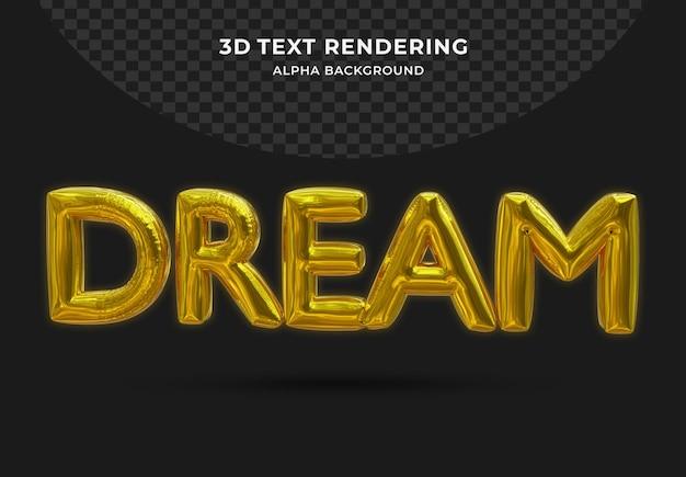 Folia marzeń złoty balon realistycznego 3d na białym tle