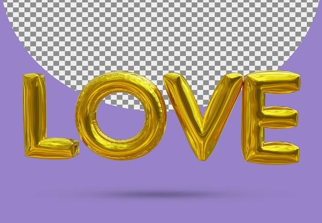 Folia miłości złoty balon realistycznego 3d na białym tle