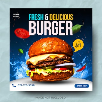 Food burger świeży pyszny baner promocyjny post w mediach społecznościowych