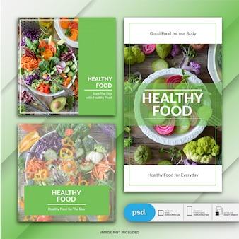 Food business marketing instagram post i szablon historii lub kwadratowy baner