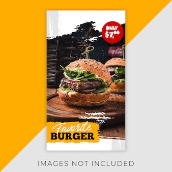 Food instagram flyer stories szablon restauracja