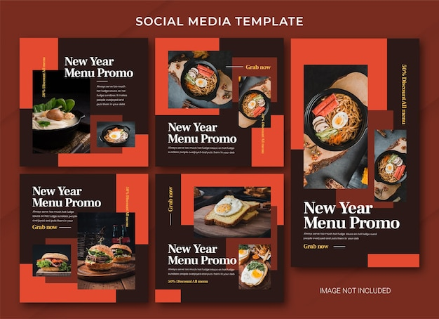 Food new year sale instagram post szablonu pakietu